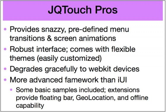 mlearning Strategy JQTouch Pros